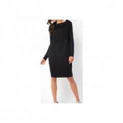 SUKIENKA NELLY | LUŹNA KLASYCZNA CZARNA. Czarne sukienki balowe marki Meleksima, na co dzień, l, z materiału, z klasycznym kołnierzykiem, oversize. Za 125,30 zł.