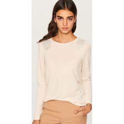 Koszulka z dżetami - Beżowy. Brązowe t-shirty damskie Reserved, l. Za 49,99 zł.