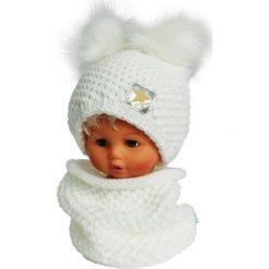 Czapka dziecięca z kominkiem CZ+K 173E biała r. 48-50. Białe czapeczki niemowlęce Proman. Za 62,96 zł.