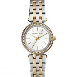 """Zegarek kwarcowy """"Mini Darci"""" w kolorze srebrno-złotym. Szare, analogowe zegarki damskie Michael Kors, ze stali. W wyprzedaży za 560,95 zł."""