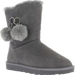 """Buty zimowe damskie: Skórzane kozaki """"Gigi"""" w kolorze antracytowym"""