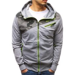 Bluzy męskie: Bluza męska rozpinana z kapturem szara (bx3481)