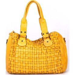 Torebki klasyczne damskie: Skórzana torebka w kolorze żółtym – 36 x 26 x 17 cm