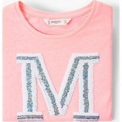 Mango Kids - Top dziecięcy Mangos2 110-164 cm. Szare bluzki dziewczęce bawełniane Mango Kids, z aplikacjami, z okrągłym kołnierzem. W wyprzedaży za 29,90 zł.