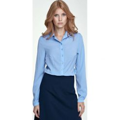 Bluzki damskie: Błękitna Klasyczna Bluzka Koszulowa
