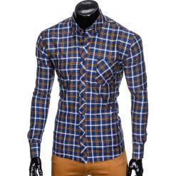 KOSZULA MĘSKA W KRATĘ Z DŁUGIM RĘKAWEM K416 - GRANATOWA/BRĄZOWA. Brązowe koszule męskie na spinki marki FORCLAZ, m, z materiału, z długim rękawem. Za 49,00 zł.