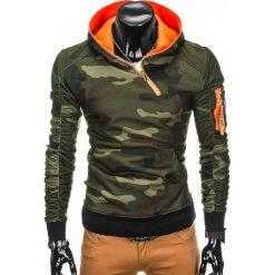 BLUZA MĘSKA Z KAPTUREM B745 - ZIELONA/MORO. Zielone bluzy męskie rozpinane marki Ombre Clothing, m, moro, z bawełny, z kapturem. Za 69,00 zł.