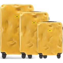 Walizki Stripe w zestawie 3 el. Mustard Yellow. Żółte walizki marki Crazy sales, z materiału. Za 2796,00 zł.