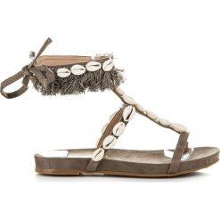 Rzymianki damskie: Wiązane sandałki z muszelkami JAIONE