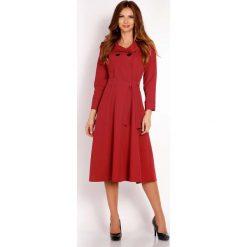 Sukienki: Bordo Sukienka Midi z Wykładanym Kołnierzem