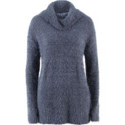 Swetry oversize damskie: Sweter oversize z przędzy z długim włosem bonprix jagodowy