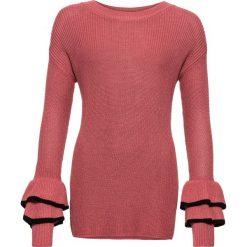 Swetry klasyczne damskie: Sweter dzianinowy bonprix malinowo-czarny