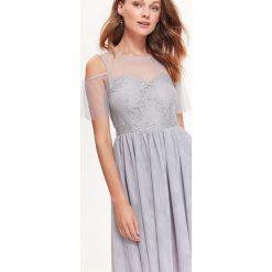 Sukienki balowe: ELEGANCKA SUKIENKA FIT AND FLARE Z TIULU I KORONKI