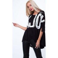 Bluzka z aplikacją i frędzlami czarna MP13029. Czarne bluzki na imprezę Fasardi, m, z aplikacjami. Za 59,00 zł.