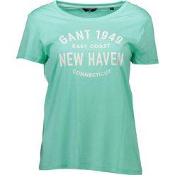 T-shirt w kolorze zielonym. Zielone t-shirty męskie z nadrukiem marki GANT, l, z okrągłym kołnierzem. W wyprzedaży za 109,95 zł.