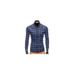 KOSZULA MĘSKA W KRATĘ Z DŁUGIM RĘKAWEM K399 - GRANATOWA/NIEBIESKA. Brązowe koszule męskie na spinki marki Ombre Clothing, m, z aplikacjami, z kontrastowym kołnierzykiem, z długim rękawem. Za 49,00 zł.