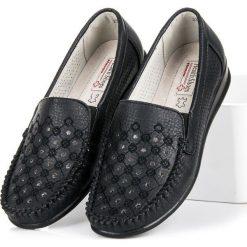Mokasyny damskie: Czarne ażurowe mokasyny HASBY czarne