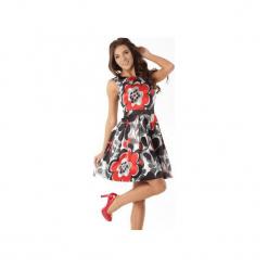 Sukienka kontrafałda czerwono-czarne wzowy ED02-1. Czarne sukienki balowe marki Ella dora, xl, w koronkowe wzory, z koronki, z falbankami, dopasowane. Za 294,00 zł.