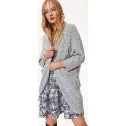 Swetry damskie: KARDIGAN DŁUGI RĘKAW DAMSKI AKRYLOWY LUŹNY