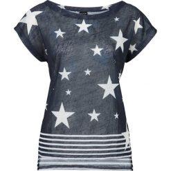 T-shirt bonprix ciemnoniebiesko-biały z nadrukiem. Białe t-shirty damskie marki bonprix, z nadrukiem, z dekoltem w łódkę. Za 29,99 zł.