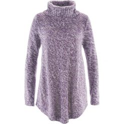 Sweter poncho, długi rękaw bonprix ciemny lila melanż. Fioletowe swetry klasyczne damskie marki bonprix. Za 89,99 zł.