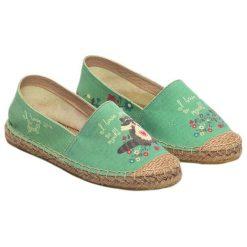 Tomsy damskie: Espadryle w kolorze zielonym ze wzorem