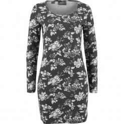 Sukienka shirtowa ze stretchem, długi rękaw, z nadrukiem bonprix czarny w kwiaty. Czarne długie sukienki marki bonprix, w kwiaty, z długim rękawem. Za 37,99 zł.