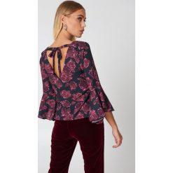 Bluzki asymetryczne: NA-KD Boho Bluzka z dekoltem V - Purple,Multicolor