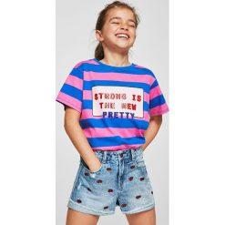 Mango Kids - Szorty dziecięce Lisa 110-164 cm. Różowe szorty jeansowe damskie Mango Kids, z haftami, casualowe. Za 89,90 zł.