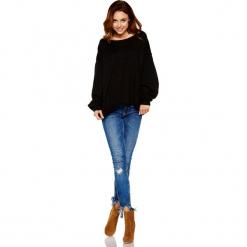 Oversizowy Czarny Sweter z Bufiastym Rękawem. Czarne swetry oversize damskie Molly.pl, uniwersalny, z jeansu. Za 99,90 zł.