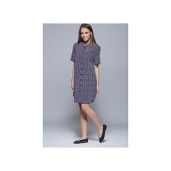 Koszulowa sukienka kw.gr. H007. Czarne sukienki mini marki Harmony, na co dzień, xl, z materiału, z asymetrycznym kołnierzem, koszulowe. Za 147,00 zł.
