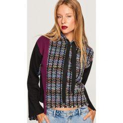 Bluza z łączonych materiałów - Wielobarwn. Szare bluzy damskie marki Reserved, l, z materiału. W wyprzedaży za 59,99 zł.