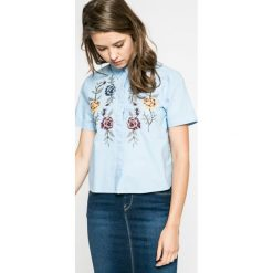Only - Koszula. Szare koszule wiązane damskie ONLY, s, z bawełny, casualowe, z klasycznym kołnierzykiem, z krótkim rękawem. W wyprzedaży za 49,90 zł.