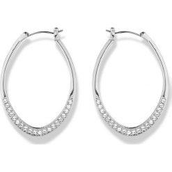 Kolczyki kółka z kryształami Swarovskiego® bonprix srebrny kolor rodowany. Szare kolczyki damskie bonprix, srebrne. Za 59,99 zł.