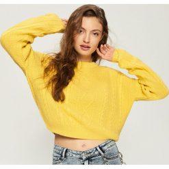 Sweter z warkoczowym splotem - Żółty. Żółte swetry klasyczne damskie Sinsay, l, ze splotem. Za 59,99 zł.