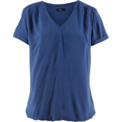 Bluzka, krótki rękaw bonprix kobaltowy. Niebieskie bluzki asymetryczne bonprix, z krótkim rękawem. Za 69,99 zł.