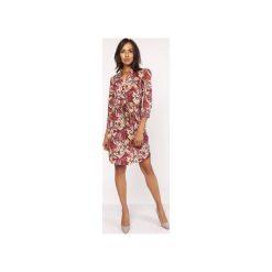 Sukienka z delikatną stójką, SUK153 wzór. Szare sukienki z falbanami marki Lanti, na jesień, z tkaniny, ze stójką. Za 179,00 zł.