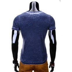 T-shirty męskie: T-SHIRT MĘSKI Z NADRUKIEM S677 – GRANATOWY