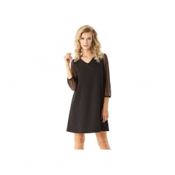 Sukienka trapezowa z tiulowymi rękawami Keira czarna ED023-1. Czarne sukienki balowe marki Ella dora, xxl, z poliesteru, oversize. Za 209,00 zł.