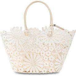 Shopper bag damskie: Torba shopper w kwiatowy wzór bonprix kremowy