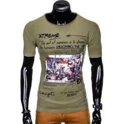 T-SHIRT MĘSKI Z NADRUKIEM S997 - KHAKI. Szare t-shirty męskie z nadrukiem marki Lacoste, z gumy, na sznurówki, thinsulate. Za 29,00 zł.