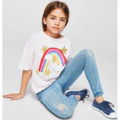 Mango Kids - Jeansy dziecięce Lora 110-164 cm. Różowe jeansy dziewczęce marki Mayoral, z bawełny, z okrągłym kołnierzem. W wyprzedaży za 69,90 zł.