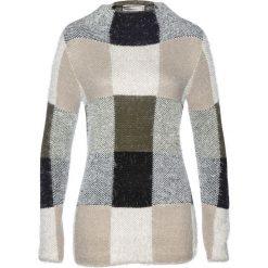 Swetry damskie: Sweter bonprix ciemnooliwkowo-czarno-kamienisty
