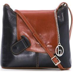 Torebki klasyczne damskie: Skórzana torebka w kolorze granatowo-brązowym – 24 x 20 x 6,5 cm