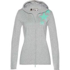 Swetry rozpinane damskie: Sweter rozpinany bonprix jasnoszary melanż – niebieski mentolowy