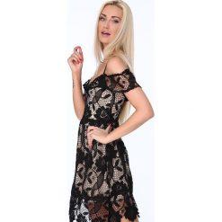 Koktajlowa sukienka z koronki czarna ZZ313. Czarne sukienki Fasardi, l, w koronkowe wzory, z koronki. Za 89,00 zł.