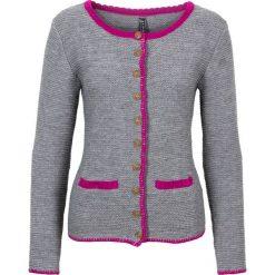 Sweter dzianinowy w ludowym stylu bonprix szaro-fuksja. Szare swetry klasyczne damskie bonprix, na lato, z dzianiny. Za 59,99 zł.