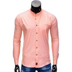 KOSZULA MĘSKA Z DŁUGIM RĘKAWEM K353 - MORELOWA. Pomarańczowe koszule męskie na spinki Ombre Clothing, m, bez wzorów, z bawełny, z kontrastowym kołnierzykiem, z długim rękawem. Za 59,00 zł.