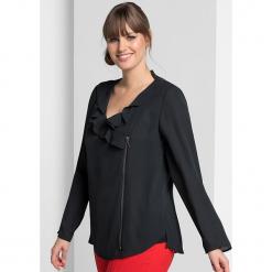 Bluzka w kolorze czarnym. Czarne bluzki asymetryczne Sheego, z falbankami. W wyprzedaży za 108,95 zł.