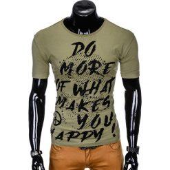 T-SHIRT MĘSKI Z NADRUKIEM S1002 - KHAKI. Brązowe t-shirty męskie z nadrukiem Ombre Clothing, m. Za 29,00 zł.